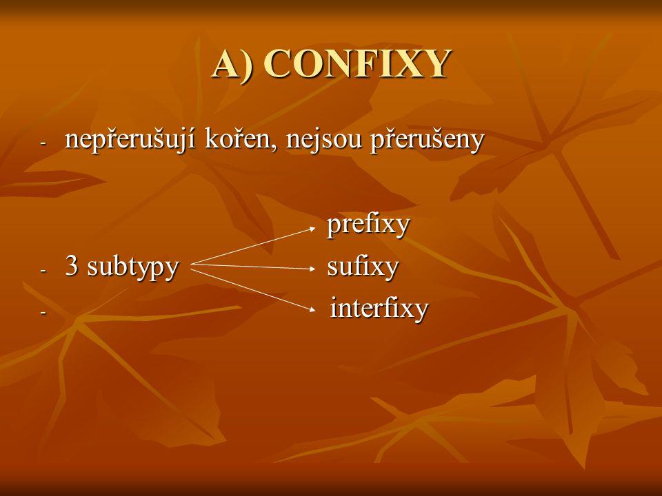 A) CONFIXY nepřerušují kořen, nejsou přerušeny prefixy
