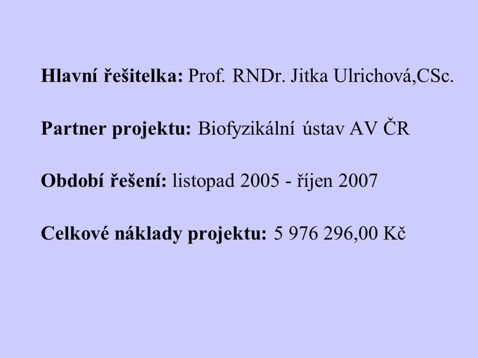 Hlavní řešitelka: Prof. RNDr. Jitka Ulrichová,CSc.