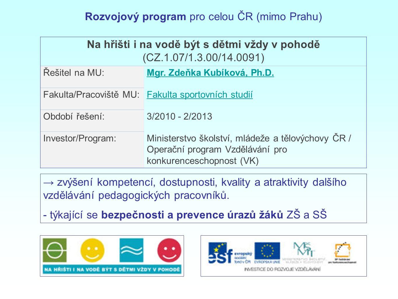Rozvojový program pro celou ČR (mimo Prahu)