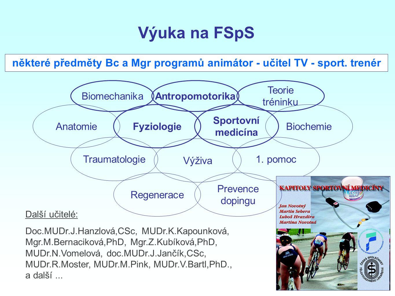 Výuka na FSpS některé předměty Bc a Mgr programů animátor - učitel TV - sport. trenér. Biomechanika.