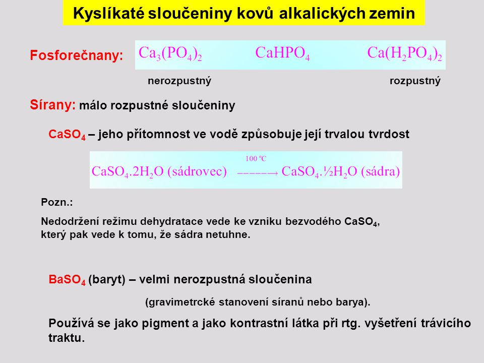 Kyslíkaté sloučeniny kovů alkalických zemin