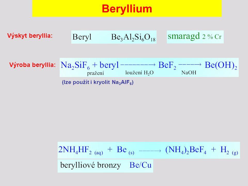 Beryllium Výskyt beryllia: Výroba beryllia: