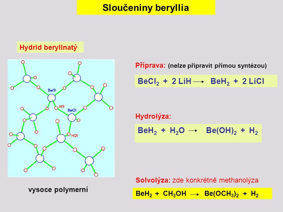 Sloučeniny beryllia BeCl2 + 2 LiH BeH2 + 2 LiCl
