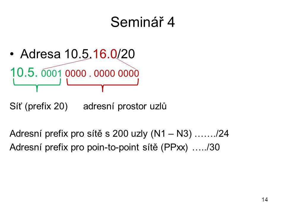 Seminář 4 Adresa 10.5.16.0/20. 10.5. 0001 0000 . 0000 0000. Síť (prefix 20) adresní prostor uzlů.