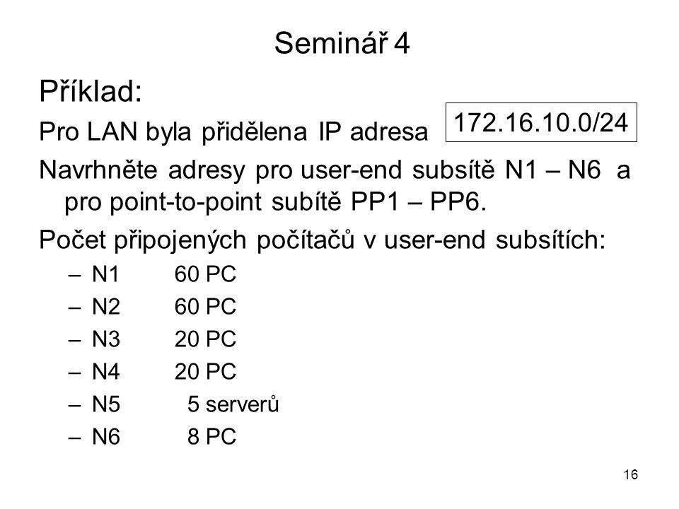 Seminář 4 Příklad: Pro LAN byla přidělena IP adresa 172.16.10.0/24