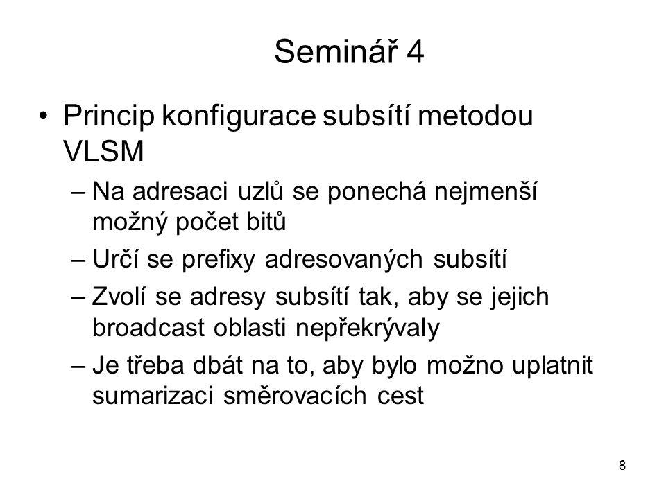 Seminář 4 Princip konfigurace subsítí metodou VLSM