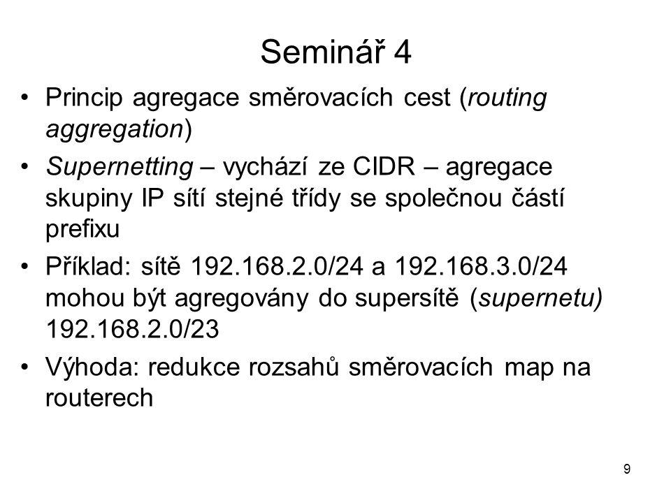 Seminář 4 Princip agregace směrovacích cest (routing aggregation)