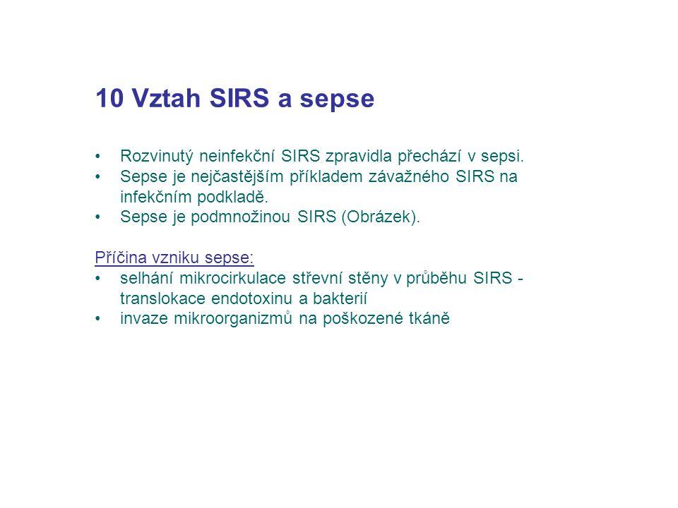 10 Vztah SIRS a sepse Rozvinutý neinfekční SIRS zpravidla přechází v sepsi. Sepse je nejčastějším příkladem závažného SIRS na infekčním podkladě.