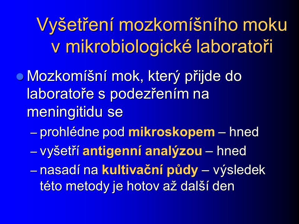 Vyšetření mozkomíšního moku v mikrobiologické laboratoři