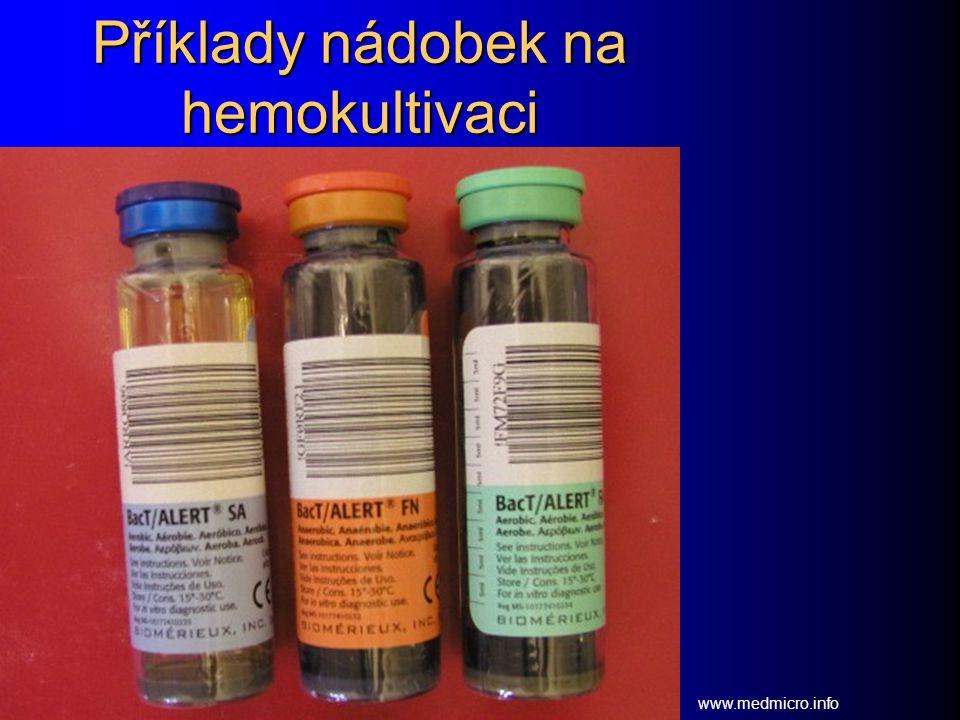 Příklady nádobek na hemokultivaci