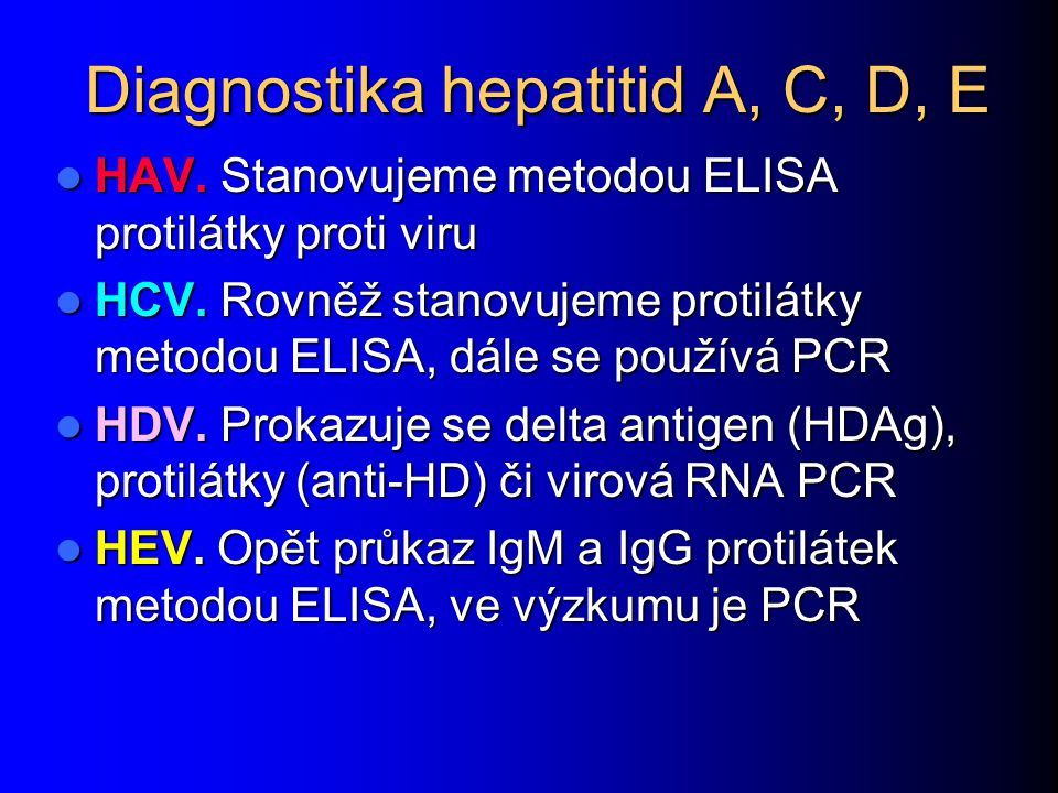 Diagnostika hepatitid A, C, D, E