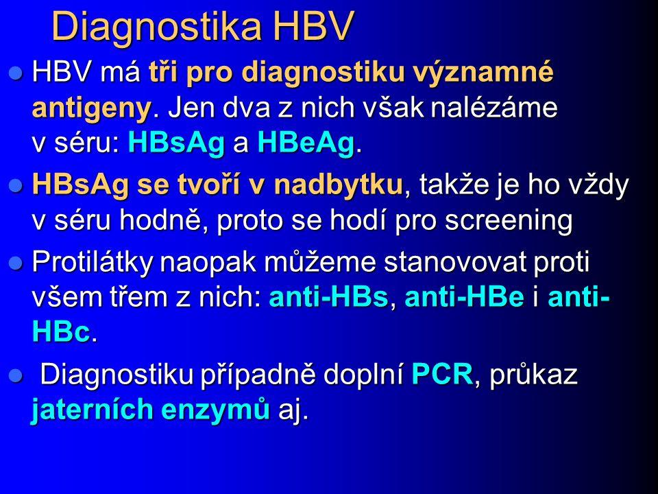 Diagnostika HBV HBV má tři pro diagnostiku významné antigeny. Jen dva z nich však nalézáme v séru: HBsAg a HBeAg.