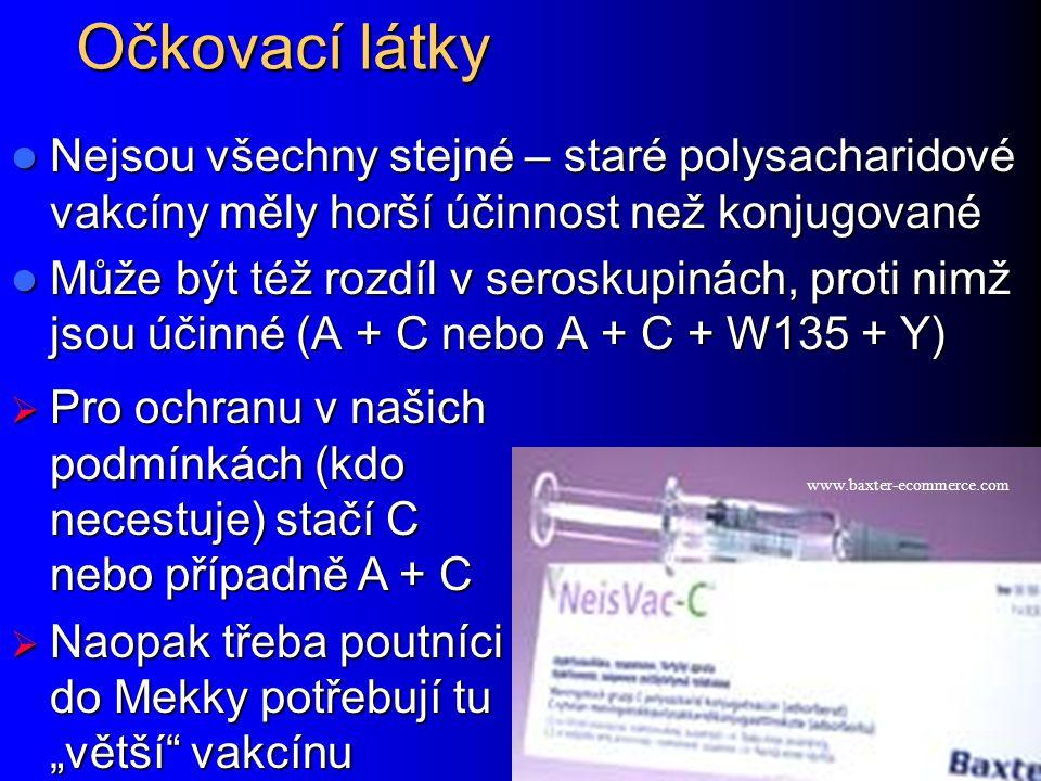 Očkovací látky Nejsou všechny stejné – staré polysacharidové vakcíny měly horší účinnost než konjugované.
