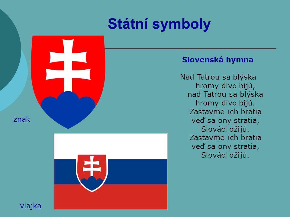 Státní symboly Slovenská hymna Nad Tatrou sa blýska hromy divo bijú,