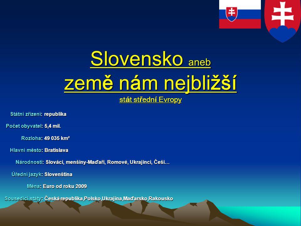 Slovensko aneb země nám nejbližší stát střední Evropy