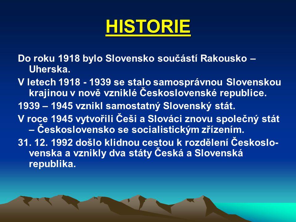 HISTORIE Do roku 1918 bylo Slovensko součástí Rakousko – Uherska.