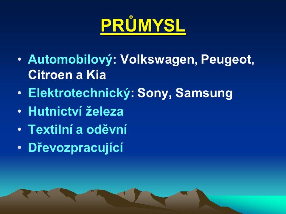 PRŮMYSL Automobilový: Volkswagen, Peugeot, Citroen a Kia