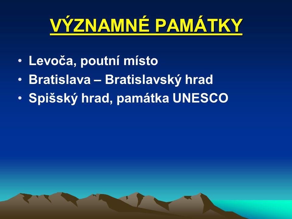 VÝZNAMNÉ PAMÁTKY Levoča, poutní místo Bratislava – Bratislavský hrad