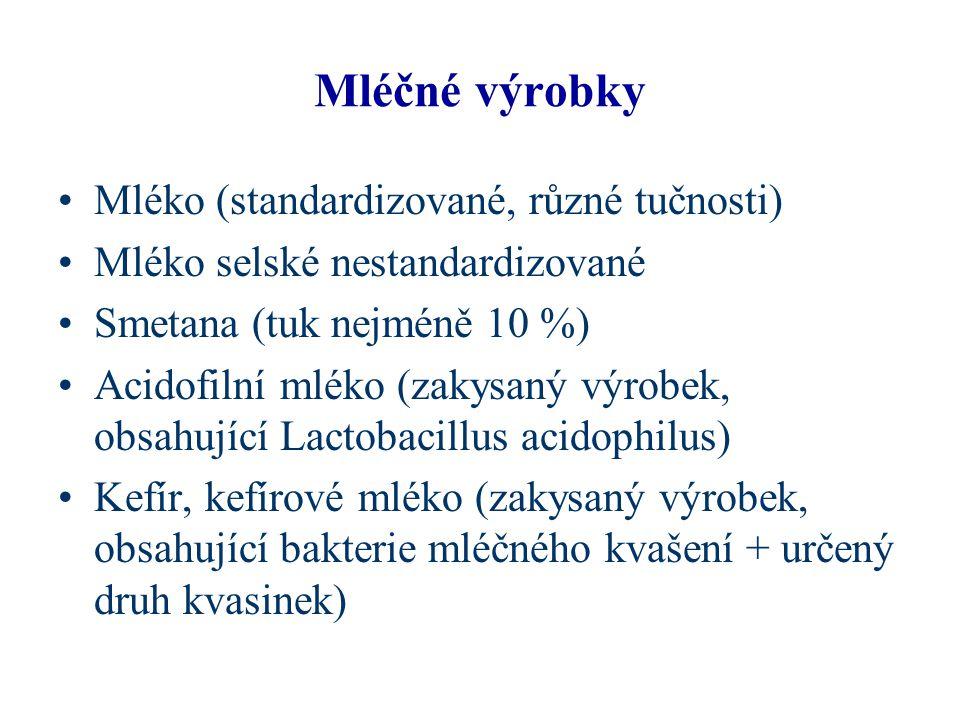 Mléčné výrobky Mléko (standardizované, různé tučnosti)
