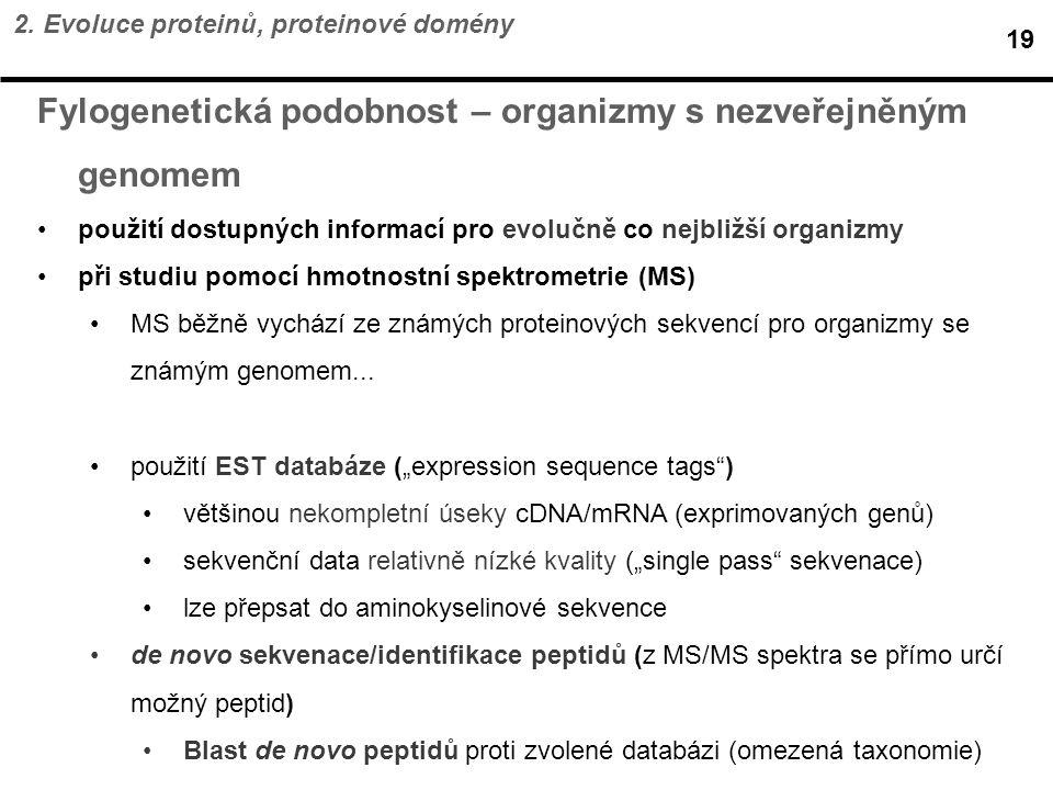 Fylogenetická podobnost – organizmy s nezveřejněným genomem