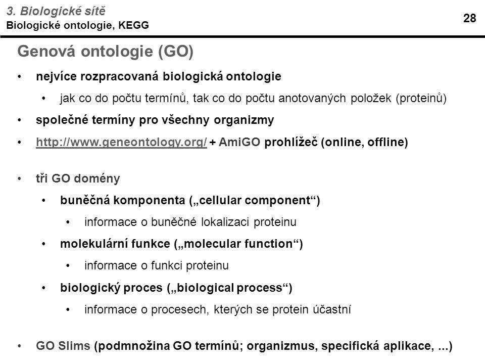 Genová ontologie (GO) 3. Biologické sítě 28