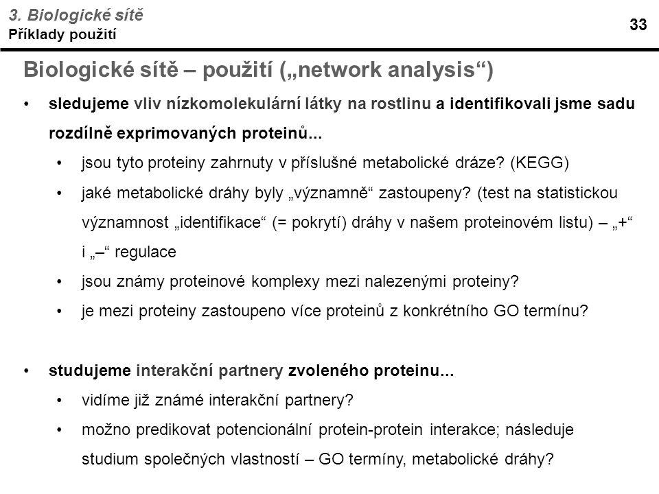 """Biologické sítě – použití (""""network analysis )"""