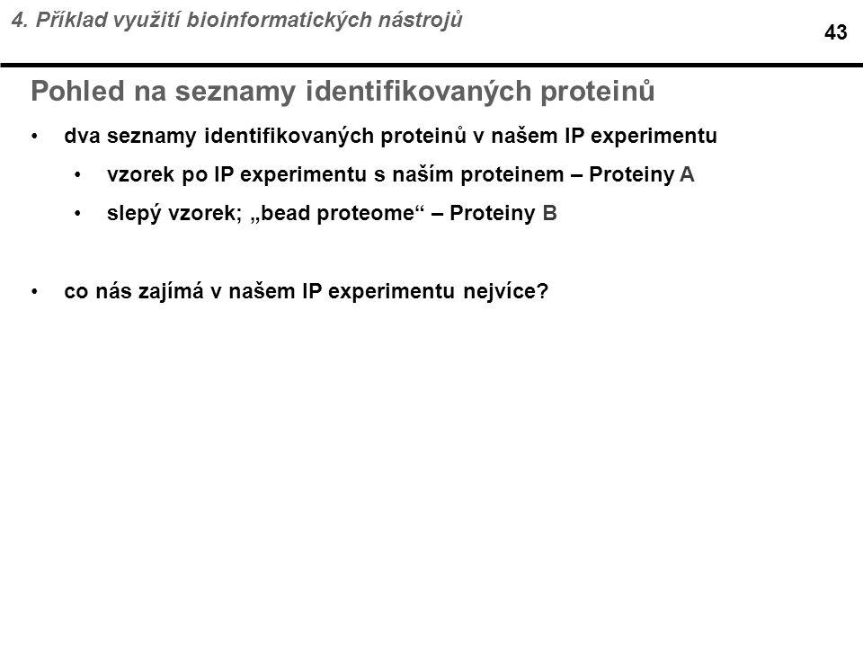 Pohled na seznamy identifikovaných proteinů
