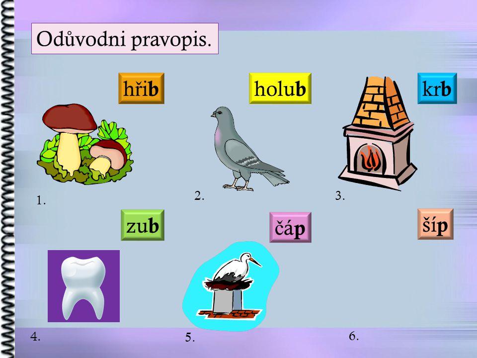 Odůvodni pravopis. hřib holub krb 2. 3. 1. zub šíp čáp 4. 5. 6.