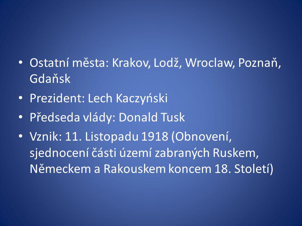 Ostatní města: Krakov, Lodž, Wroclaw, Poznaň, Gdaňsk