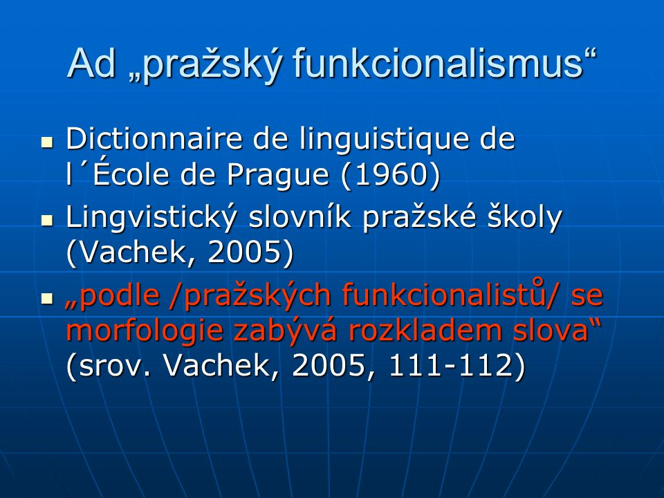 """Ad """"pražský funkcionalismus"""