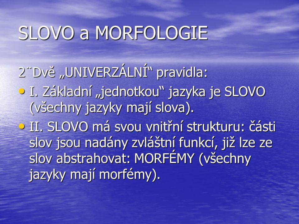 """SLOVO a MORFOLOGIE 2¨Dvě """"UNIVERZÁLNÍ pravidla:"""