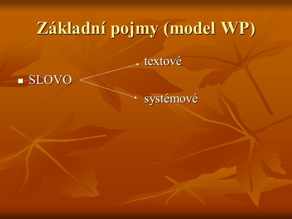 Základní pojmy (model WP)
