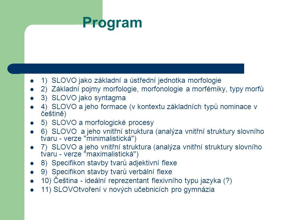 Program 1) SLOVO jako základní a ústřední jednotka morfologie