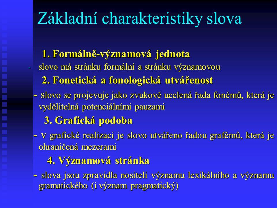 Základní charakteristiky slova