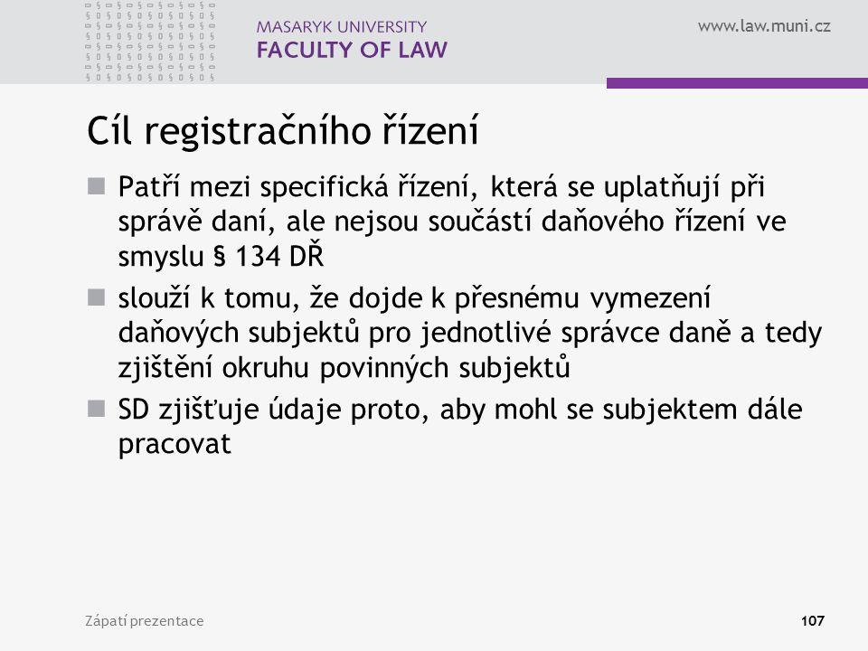 Cíl registračního řízení