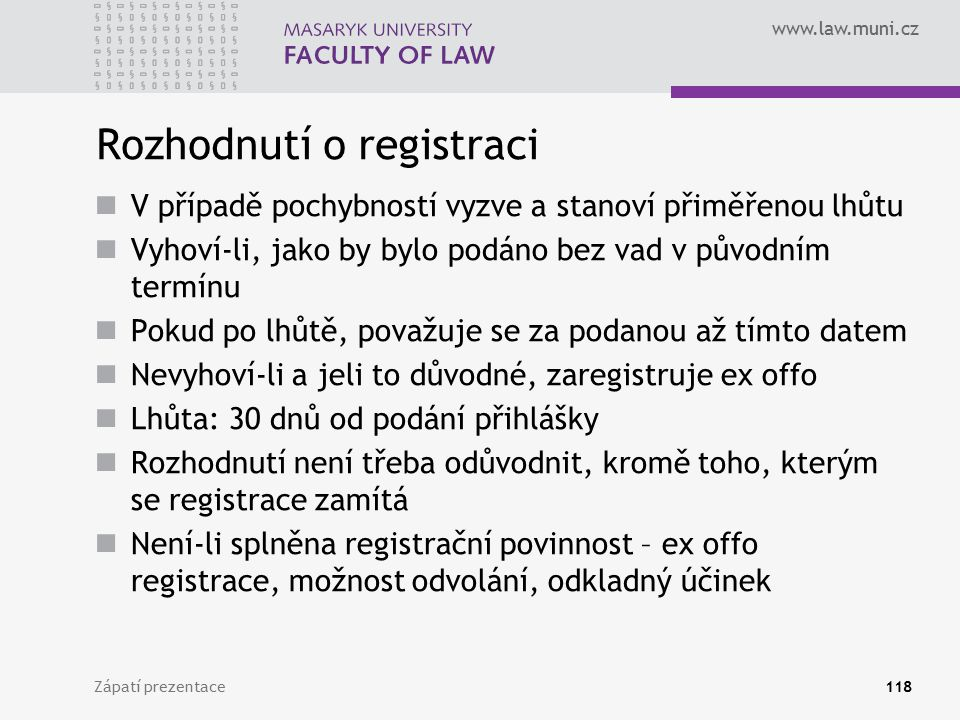 Rozhodnutí o registraci