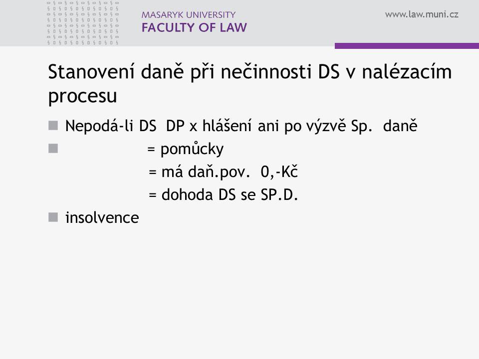 Stanovení daně při nečinnosti DS v nalézacím procesu