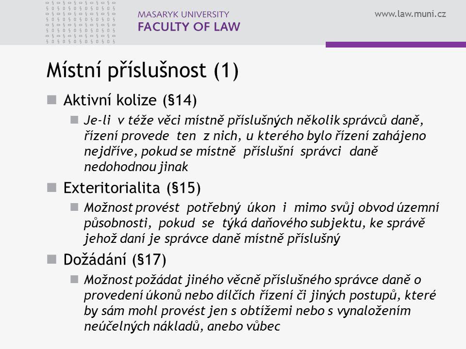 Místní příslušnost (1) Aktivní kolize (§14) Exteritorialita (§15)