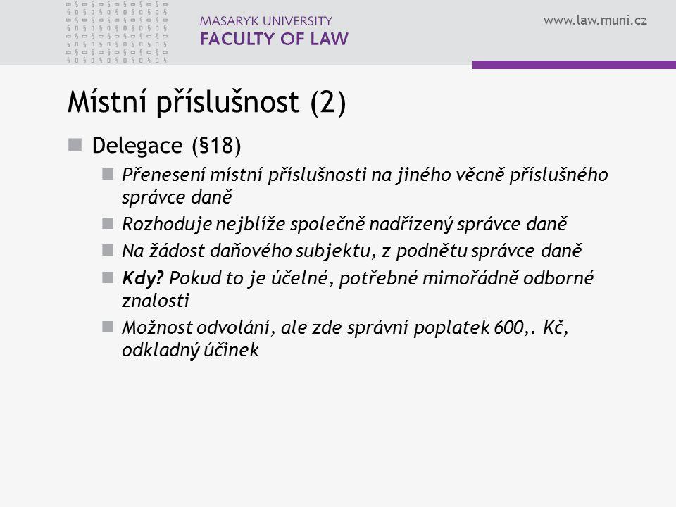 Místní příslušnost (2) Delegace (§18)