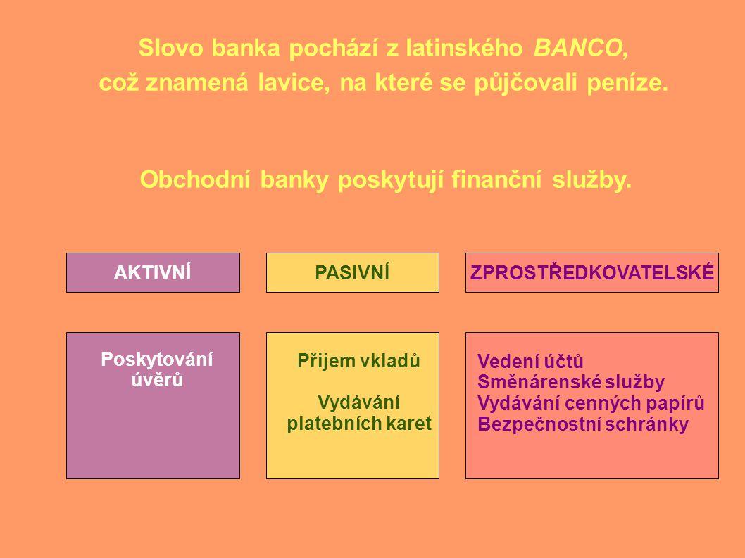 Slovo banka pochází z latinského BANCO,