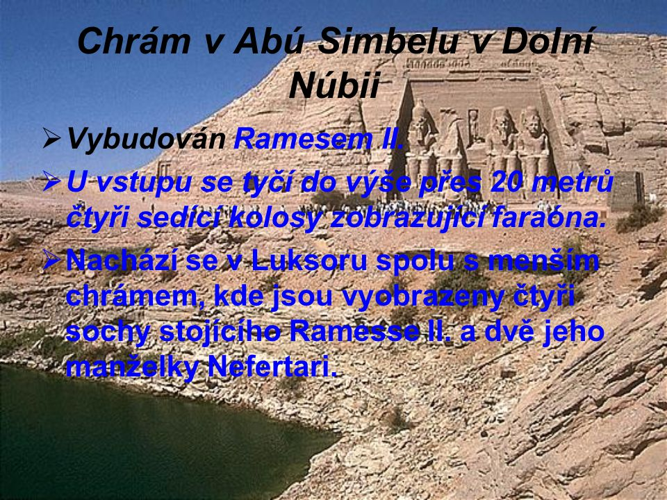Chrám v Abú Simbelu v Dolní Núbii