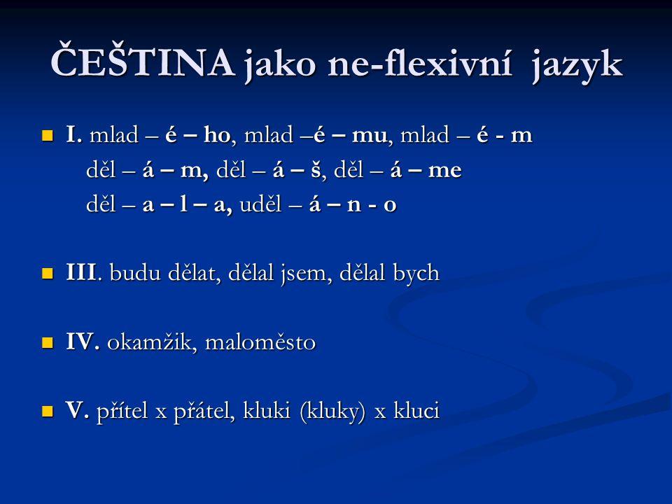 ČEŠTINA jako ne-flexivní jazyk