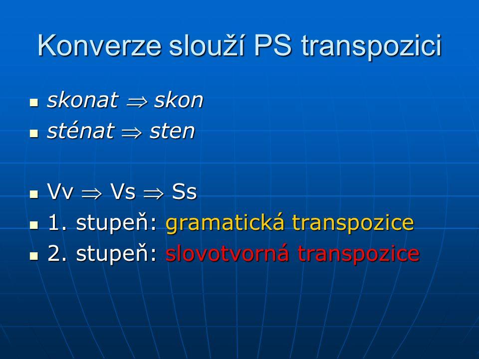 Konverze slouží PS transpozici