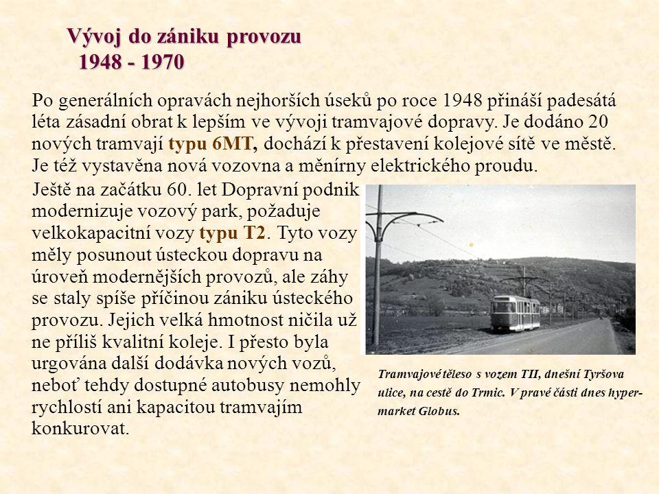 Vývoj do zániku provozu 1948 - 1970