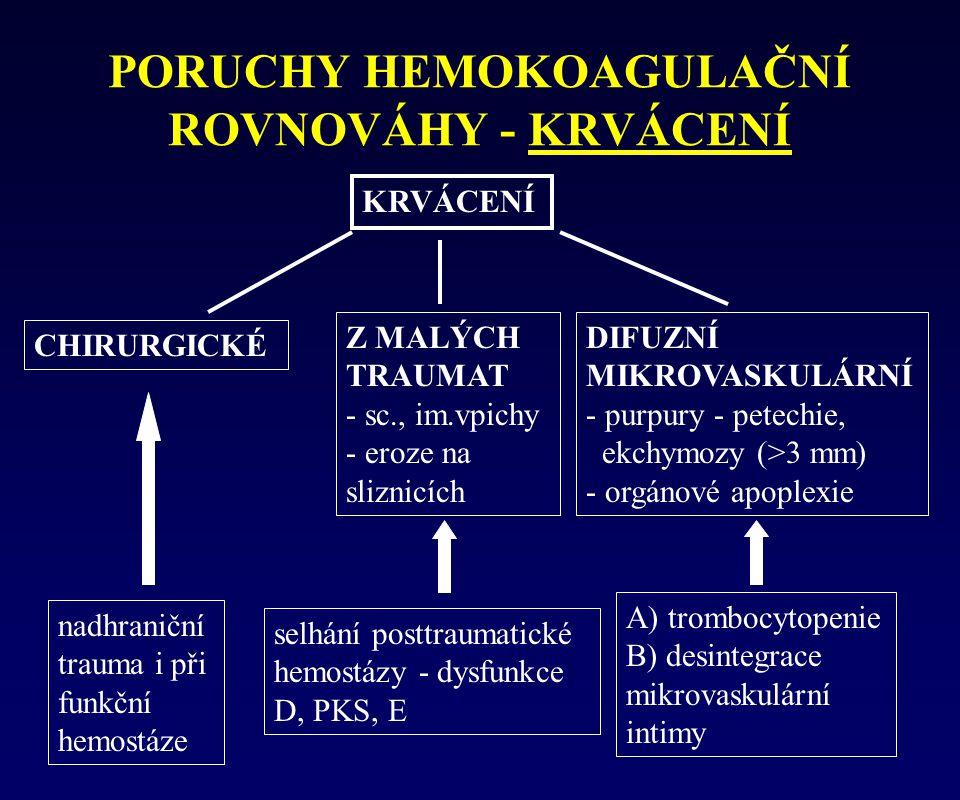PORUCHY HEMOKOAGULAČNÍ ROVNOVÁHY - KRVÁCENÍ