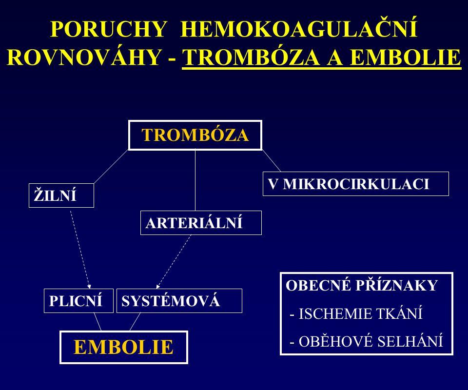 PORUCHY HEMOKOAGULAČNÍ ROVNOVÁHY - TROMBÓZA A EMBOLIE