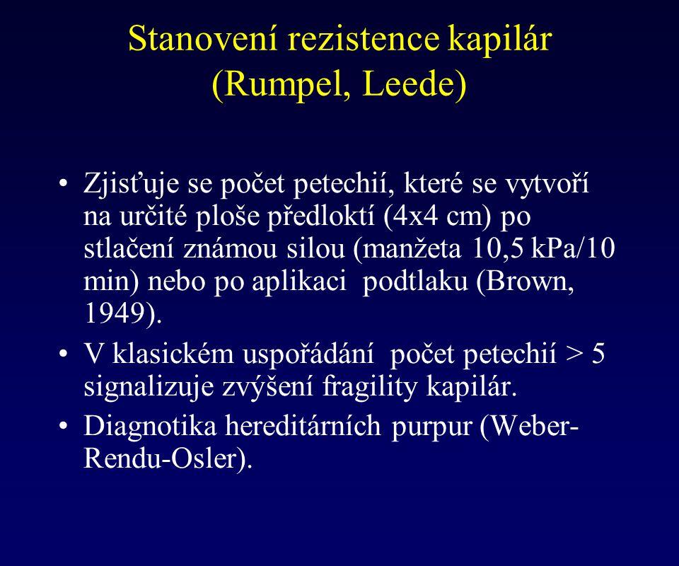 Stanovení rezistence kapilár (Rumpel, Leede)
