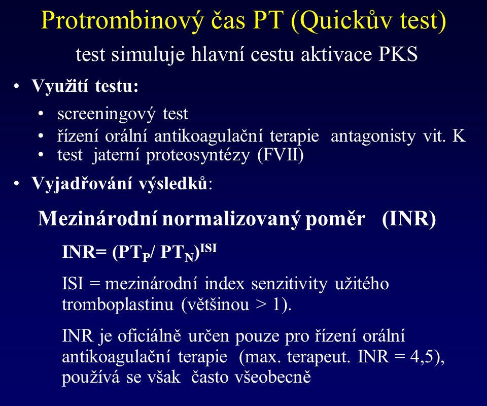 Protrombinový čas PT (Quickův test) test simuluje hlavní cestu aktivace PKS