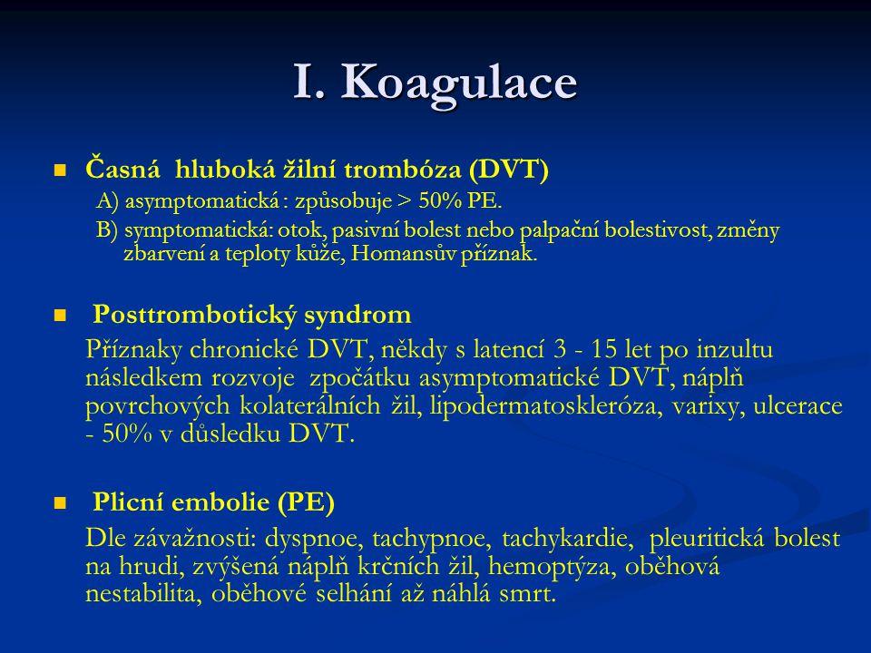 I. Koagulace Časná hluboká žilní trombóza (DVT)