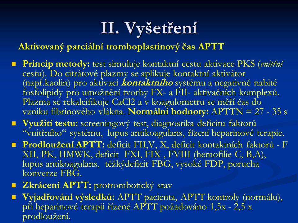 II. Vyšetření Aktivovaný parciální tromboplastinový čas APTT